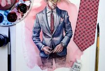 Sunflowerman in the Studio / Process, sketchbook and studio shots of menswear fashion illustrations by artist Matthew Miller.