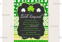 Shamrock Green and Yellow St Patricks Baby Shower / This collection features a green and white shamrock on a chalkboard frame. The background consists of white shamrocks on green, green and yellow stripes and a green and yellow polka dot ribbon.