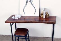 Desks / Desks, Conference Tables, Stand up desks made from live edge, quartz, phenolic resin, walnut, pecan, oak, steel