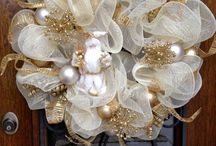 White and gold wreaths