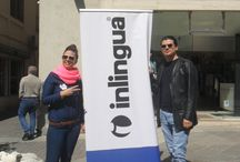 April's fool at inlingua / We celebrated the 1st of April with fish cutouts to play jokes on everyone: put a fish on your friend's back and he will walk around with it all day not noticing! We enjoyed the sun and took nice pictures outside :) #weareinlingua