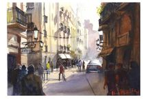 Barcelona watercolours / Paul Raymonde is the La Terraza Atico teacher of watercolour in Barcelona. All images are his paintings from the streets of BCN