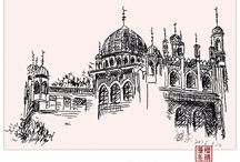 Sketch the mosque / I hope you like my paintings.