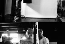 Sandra Prinsloo - Behind the Scenes / The portrait features Prinsloo kissing a shadow projected on a white background which depicts the kiss she shared with fellow icon, John Kani during Apartheid in the Athol Fugard play Miss Julie.
