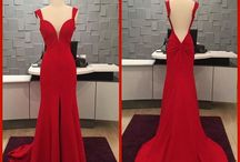 Sexy Red Low Back Evening Gown