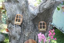 Tree and fairy house and garden