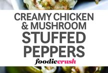 CREAMY CHICKEN AND MUSHROOM STUFFED GREEN PEPPERS