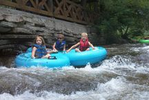 Tubin' The Hooch! / Helen, GA is famous for its tubing the hooch and all these people are having a great time doing so. An inexpensive way to spend some great family time or hang with friends!
