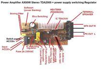 rakitan Power Amplifier Ax80w Tda2005 Stereo +Power Supply Switching Regulator