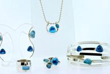 Lilly Barrack Designs / .925 Sterling Silver, rough cut semi precious stones & cz's.