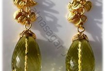 Studded Jewelry Collection / Studded Gemstone Earrings, Gold Earrings & Three Piece Studded Jewellery Set