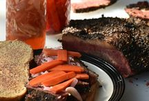 homemade pastrami with pickled carrots and shallots