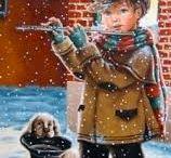 Мальчик и собака зима