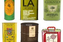 Olive oil tins & bottles