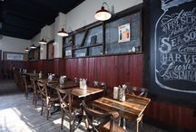 Client Spotlight: Jammin' Crepes / We outfitted this delicious eatery in Princeton, NJ that celebrates local, regional farms wrapped in a crepe! Check out the reclaimed wood and corrugated tin throughout.