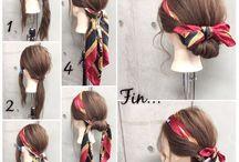 スカーフ巻きヘア
