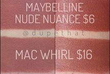 Make-up Dupes / A board full of make-up dupes