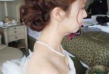 結婚式 髪型 紺