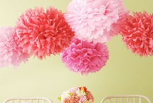 Pompoms & honeycomb balls / Fabulous decorations for all events but especially weddings. A cost effective way to achieve the wow factor that also creates a sense of whimsical romance.....