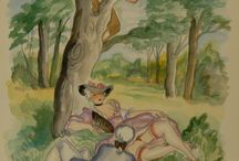 """Alexander Székely - """"Tales by La Fontaine"""" / With two cover editions: from 1954 and 1963."""