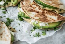 Quesadillas with feta hummus and avocado