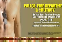 Finest and Bravest / Beach Bum Tanning honors our Finest and Bravest! Police, Fire, & Military receive 25% off any regularly priced Package/ Membership. Friends and family receive 15%!