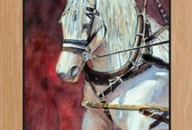 """Horses and Western / """"I love painting horses, and during a workshop, I heard about an intriguing event.""""  'If you like painting horses, you ought to think about Artist Ride,' the instructor said.  'They recreate an 1800s village with stagecoaches and chuck wagons and cowboys and Indians.  They run their herd of horses and longhorns across the river.  It's like nothing you've ever seen.  '"""" -Diana Madaras. """"Private Spaces"""""""