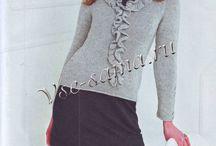 уже связано - уже вяжу / вязание спицами, вязание  по описанию, пуловер спицами, жаккард, рюши