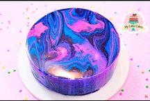 torta espelhada colorida