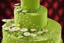 Торты ярусные с цветами.