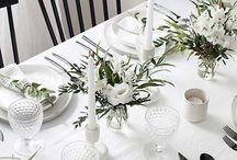 white linen setting