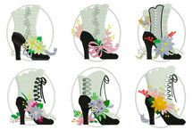 MACHINE EMBROIDERY VINTAGE SHOES / http://www.spookiestreasures.com/products/victorian-shoes-5x7