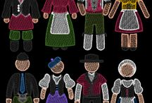 People of the World Embroidery Designs Set 3 - Europe / The newest addition to my People of the World Design Collection: Set 3 - European Countries - Germany, Italy, Switzerland and Scotland.. 20 machine embroidery designs to fit 120mm hoops.  http://cindysembroiderydesigns.com/People-of-the-World-Designs.html machine embroidery designs