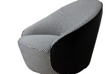Moden New Upholstered Black & White Fabric Swivel Lago Armchair