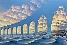 Art / Optical Illusion- Ship, clouds