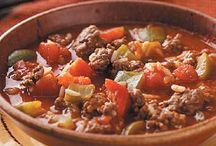 FOOD: Soup's On, Stews, Chilis / Find slow cooker soups for any occasion with this collection of slow cooker soup recipes. Whether you're planning a holiday meal, or just want a cozy soup while the weather is chilly, try one of these slow cooker recipes. These soups, stews and chili recipes can be cooked on the stove in a large  dutch oven/soup pot too. I prefer to make my soups in the slow cooker. It is up to you and your preferences. Enjoy!!!! / by Lady in Red