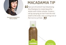 Macadamia Tip / Hair care tips for quick, easy, and inexpensive ways to make your hair shine.