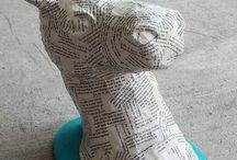 Paper mache animal heads