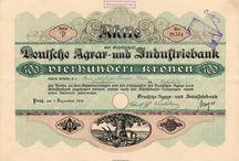Banky, spořitelny, záložny a pojišťovny - Cenné papíry - Scripophily - Historische Wertpapiere / Akcie a podílové listy bank, spořitelen, záložen a pojišťoven z období Rakouska-Uherska, Československa a Protektorátu Čechy a Morava. Historické cenné papíry (akcie, dluhopis, obligace, podílový list, požitkový list, kuksový list) - Scripophily (Stocks and Bonds Certificates) - Historische Wertpapiere (Aktie, Schuldschein, Anleihe, Kassenschein, Schatzanweisung, Genussschein, Interimsschein, Kuxschein)