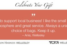 """Quotes by customers because we """"Celebrate Your Gift"""" /  We are celebrating you and the gifts you buy.  Whether the gift you buy is for someone you love or for yourself, every gift creates many experiences, beginning with the purchase itself. And we want to celebrate that with you.  Simply tell us what you like about your purchase at London Harness or Tumi Wellesley, and you're entered to win one of three gift certificates:        $500         $250         $125  Learn more at www.LondonHarness.com."""