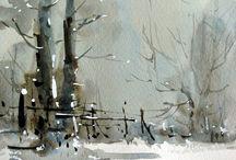 paesaggi dipinti / paesaggi dipinti con tecniche varie