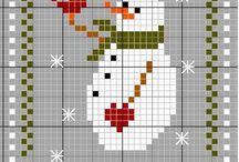 Вышивка снеговички