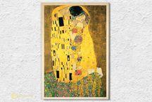 Famous Artists - wood print / Leonardo da Vinci, Michelangelo, Gustav Klimt and ...