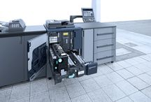 Konica Minolta bizhub PRESS C1060 C1070 P / Digital colour on-demand PRESS: high print speed of 71/60 colour ppm. Singular image quality: matchless clarity and precision with 1,200 x 1,200 dpi x 8 bit full colour resolution and Simitri® HD E polymerised toner. Konica Minolta's advanced colour processing technologies: S.E.A.D. IV imaging, FM screening, stability monitoring, and density control for consistency. Leading media & finishing capabilities: sophisticated media management and finishing versatility.