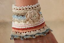 Cuffs, crochet and/or beaded