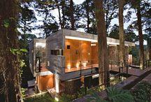 Moderne hus i skogen