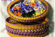 Плетеные круглые шкатулки, корзинки