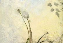 "Botanical Art from Iskra Fine Art | Mixed Media & Venetian Plaster / ""The Gardener's Almanac of Irreproducible Phenomena"": Mysterious and Elegiac images using Italian Plaster, photography, paint and collage."