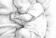 Babies drawing/sketching/painting