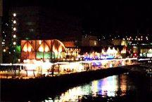 Night in Nagasaki city . / 昨晩の夜間作業現場からの風景。